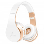 PICUN P16 Foldable Mega Bass Wireless Bluetooth Headphone for iPhone 7 Samsung Note 8 etc. - White/Gold
