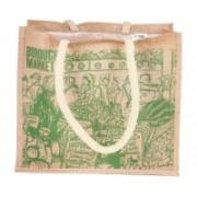PRAHAN INTERNATIONAL Carry Bag Designer Natural Juit Hand Carry Bag with two White Handle Strap PS20011B(Natural Jute)