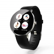 F25 Color Large Round Touch Screen Fitness Monitoring Waterproof Smart Bracelet [Leather Strap] - Black / Silver