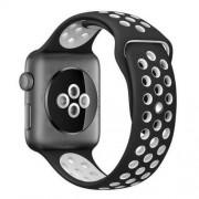 Curea Sport Perforata, compatibila Apple Watch 1/2/3/4, Silicon, 42mm/44mm, Negru / Alb