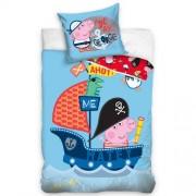 Lenjerie de pat din bumbac, pentru copii, Purceluș Peppa George Pirat, 140 x 200 cm, 70 x 90 cm