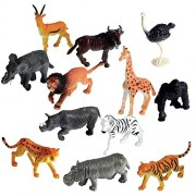 Party Propz Wild Animals Figures Set for Kids - Medium (Pack of 12) for Animal Toys for Kids Wild Animals Or Animal Action Figure Toys