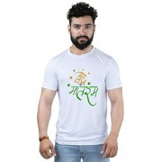 DOUBLE F WHITE COLOR ROUND NECK HALF SLEEVE MULTICOLOR PATTERN PRINTED MEN'S T-SHIRT