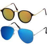 Freny Exim Aviator Sunglasses(Yellow, Blue)