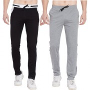 Cliths Pack Of 2- Black White Grey Black Stylish Joggers For Men/ Casual Trackpants For Men