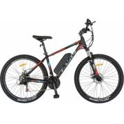 Bicicleta electrica MTB E-BIKE CARPAT 27.5 I1008E cadru aluminiu frane mecanice disc echipare SHIMANO 21 viteze culoare negru-rosu