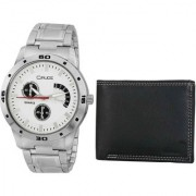 Crude Combo of White Dial Watch-rg699 With Black Leather Wallet