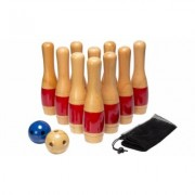"Lawn Bowling Game/Skittle Ball- 10 Wooden Pins, 2 Balls, & Bag Set by Hey! Play! Red - 11"""" Multi-color"