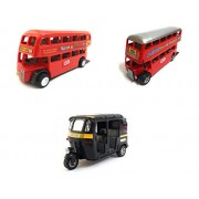 3 Combo Vehicle Toys of Double Decker Bus (Mini, Small Size), Auto Rickshaw and Double Decker Bus Toy for Kids | Pull Back and Go | Red, Black and Red Color | Set of 3 Toys