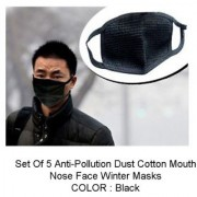 Dust Cotton Mouth Nose Face Anti pollution Mask Pack of 5 CODEzf-6849