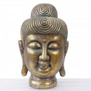 XL Deko Figur Buddha 38cm, Polyresin Skulptur Kopf, In-/Outdoor gold ~ Variantenangebot