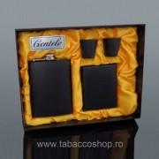 Set Gentelo tabachera si plosca negru mat 240ml cu 2 paharele