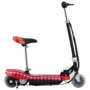 vidaXL Електрически скутер със седалка и LED, 120 W, червен