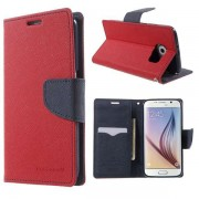 Korean Mercury Fancy Diary Wallet Case for Samsung Galaxy Galaxy S6 - Red