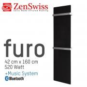 ZenSwiss furo Music Handtuchtrockner 42 x 160 cm (Glanz Schwarz)