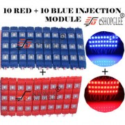 Eshopglee 3 LED DC 12V Waterproof Injection Led Modules Light 5630/5730 SMD - 10+10 Module (Blue+RED) + Free 12v Dc Adaptor
