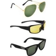 Zyaden Aviator, Wrap-around, Wayfarer Sunglasses(Green, Yellow, Black)