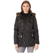 YMI Snobbish Faux Fur Lined Parka with Faux Fur Trim Hood Black