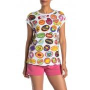 LOVE Moschino Fruit Sticker Logo Print Muscle T-Shirt STICKERSWHITE