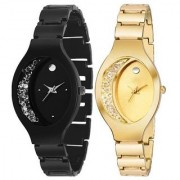 Ovel Dile Black With Golden Diamound Designing Stylist Looking Analog Combo Pack Of 2 Watch For Women Girls