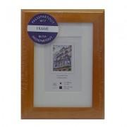 Fotolijst hout passepartout 10x15 cm oranje bruin Henzo