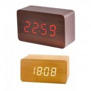 Ceas Digital de Birou Aspect Lemn USB Data Ora si Temperatura 10x6x4cm VST863