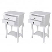 vidaXL Нощни шкафчета с чекмеджета, 2 бр, бели