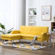vidaXL Ъглов диван, тапицерия от текстил, 186x136x79 см, жълт