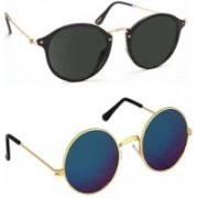 DEIXELS Round Sunglasses(Multicolor, Black)