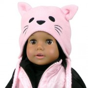 """18 Inch Doll Hat w/Tassels, Animal Hat Fits 18"""" American Girl Dolls & More! Doll Clothing Pink Fleece Kitty Cat Doll Animal Hat"""