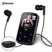 VZ SPORT MATE 8 GB Clip Reproductor de MP3 Bluetooth 4.2,1.5 Pulgadas visualización táctil Botones Reproductor de música portátil con Altavoz Radio FM y Funda rígida de Transporte