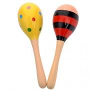 Wooden Maracas Egg Shakers Kids Musical Educational Toys 20cm - 2 Pcs (Random Color Pattern)