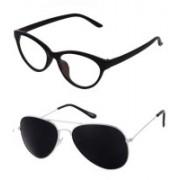 Barbarik Cat-eye, Aviator Sunglasses(Black, Clear)