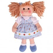 Bigjigs Toys 13 Inch Christine Doll - Soft Body Plush Toy Doll with Hair and Outfit