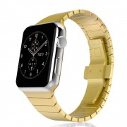 Stainless Steel Butterfly Clasp Watch Band Link Bracelet for Apple Watch Series 4 40mm/3/2/1 38mm - Gold