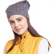 Vimal-Jonney Dark Grey Printed Cotton Beanie Cap For Women