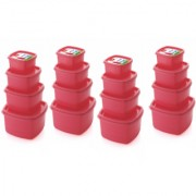 Airtight Plastic Food Storage Containers Set of 16 PCS (1350 ml 750 ml 500 ml 250 ml) Pink
