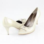 Pantofi piele naturala dama - auriu, Nike Invest - toc inalt - M427-Bej-S
