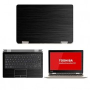 "Black Brushed Aluminum skin decal wrap skin Case for Toshiba Satellite Radius 11.6"" L15 W Touch Screen Laptop"