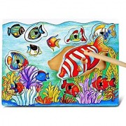 Puzzled Fish Wooden Magnetic Fishing Puzzle Play