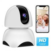 Modernway Cámara WiFi para Mascotas, 1080P IP inalámbrica para Interior y hogar, Monitor de bebé con Zoom de inclinación panorámica, Audio de 2 vías, visión Nocturna y detección de Movimiento