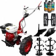 Pachet motocultor Media Line MS 9500 CF model 2019 motor 10CP freza segmentabila 80-120cm roti cauciuc rarita fixa roti metal plug arat +