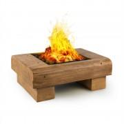 Blumfeldt Lombardia, tűzrakó tál, 40 x 40 cm, BBQ gödör, védelem a szikrákkal szemben, MagicMag, fa hatás (HHG10-Lombardia)