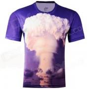 LaoNongZhuang 3D Patron Atomic Bomb cuello redondo Ocio T-Shirt - Azul (Talla XXXL)