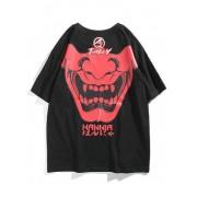 Zaful T-shirt en lettres à imprimé crâne Noir XL