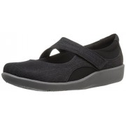 Clarks Women's Sillian Bella Mary Jane Flat, Black Denim, 7. 5 M US