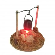 Dollhouse Miniature Garden Villa Accessories Hanging Furnace Outdoor Picnic Pastoral Style Light Battery Operated OG015