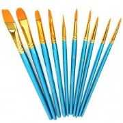 AOBOR Paint Brush Set Acrylic 10pcs Professional Paint Brushes Artist for Watercolor Oil Acrylic Painting