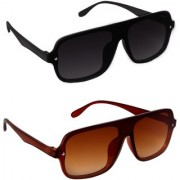 Sunglasses For Men And Women Pack Of 2 Combo UV Protected Black And Brown Rectangular