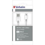 USB kábel, USB - micro USB, 0,3 m, VERBATIM, ezüst (KV48865)